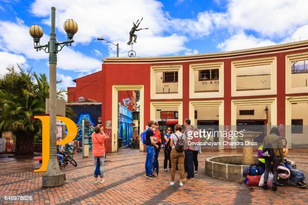 Bogota, Colombia - Visitors on Plaza Chorro de Quevedo in the La Candelaria District