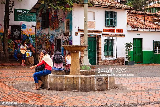 Bogota, Colombia - Visitors on Plaza Chorro de Quevedo