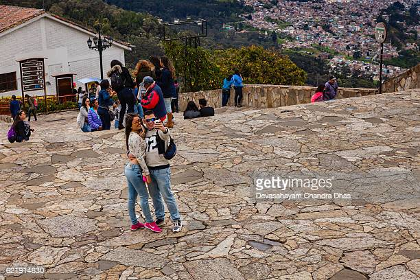 Bogota - Colombian Tourists on the Andean peak of Monserrate