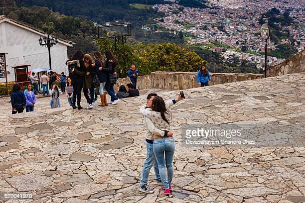 Bogota - Colombian Tourists Selfie on Andean Peak of Monserrate