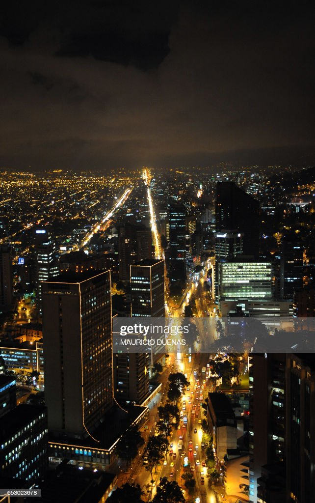 Bogota is illuminated with Christmas Lights on November 28, 2008