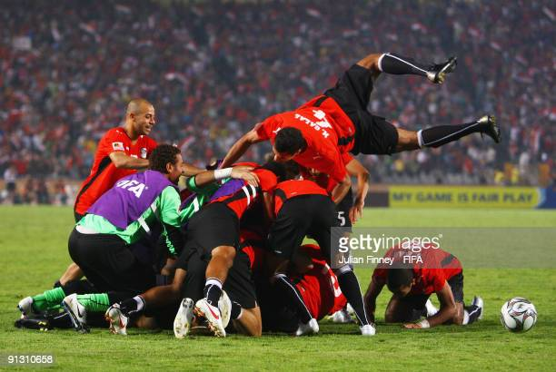 Bogy of Egypt celebrates scoring the third goal during the Group A, FIFA U20 World Cup match between Italy and Egypt at the Cairo International...