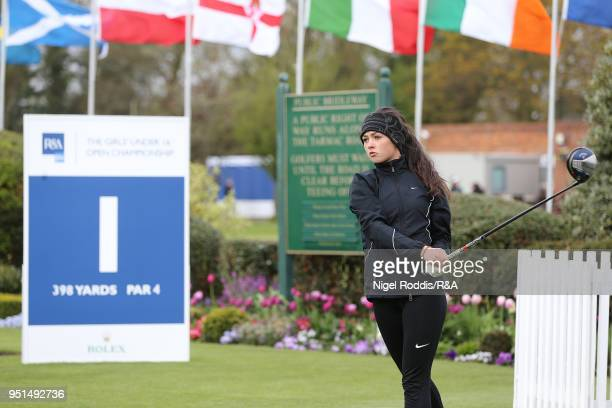 Boh Greenwood during practice for the Girls' U16 Open Championship at Fulford Golf Club on April 26 2018 in York England