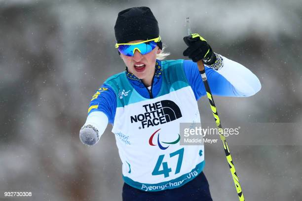 Bohdana Konashuk of Ukraine competes in the Women's 125 km Standing Biathlon at Alpensia Biathlon Centre on Day 7 of the PyeongChang 2018 Paralympic...