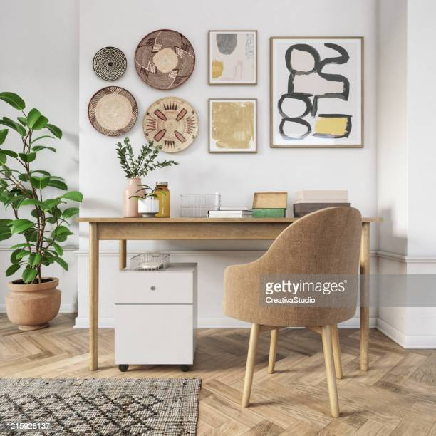 bohemian home office interior - 3d render - fashionable stock pictures, royalty-free photos & images