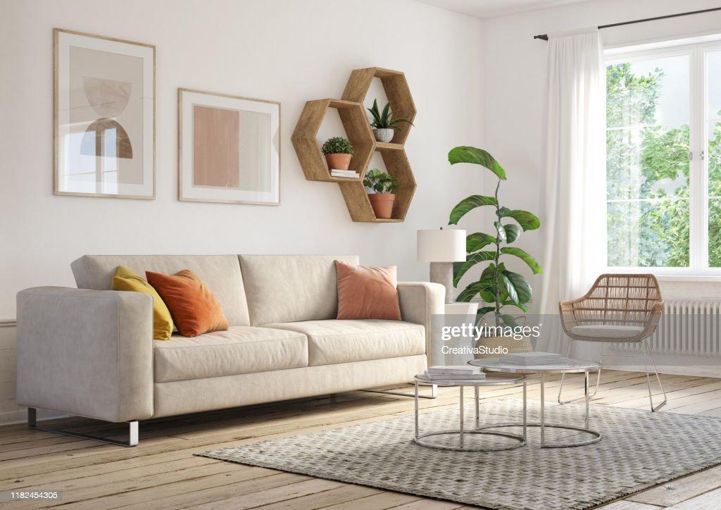 Interno del soggiorno bohémien - rendering 3d : Foto stock
