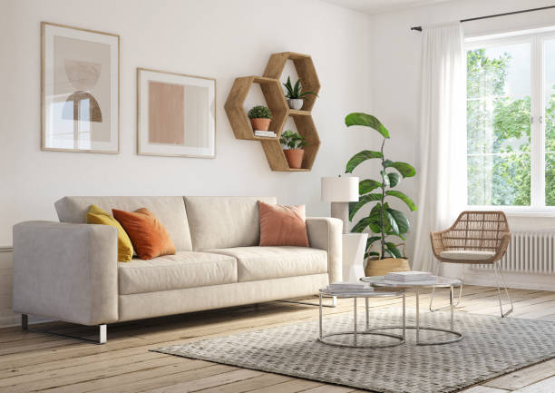 bohemian living room interior - 3d render - indoors stock pictures, royalty-free photos & images