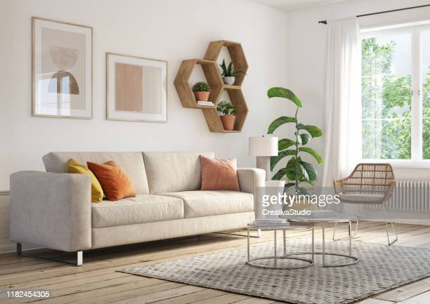 bohemian living room interior - 3d render - nordic countries stock pictures, royalty-free photos & images