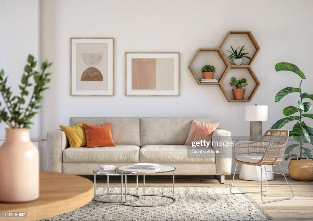 Interior de la sala de estar bohemia - renderizado 3d : Foto de stock