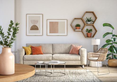 Bohemian living room interior - 3d render 1182454657