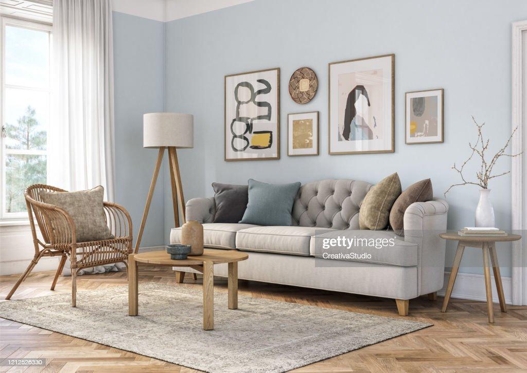 Interno del soggiorno bohemien - rendering 3d : Foto stock