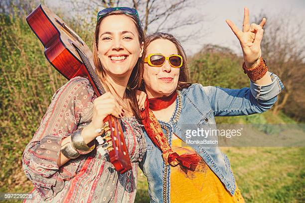 Boho mother and daughter