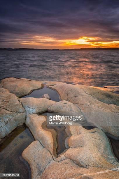 Bohuslan rocks at sunset