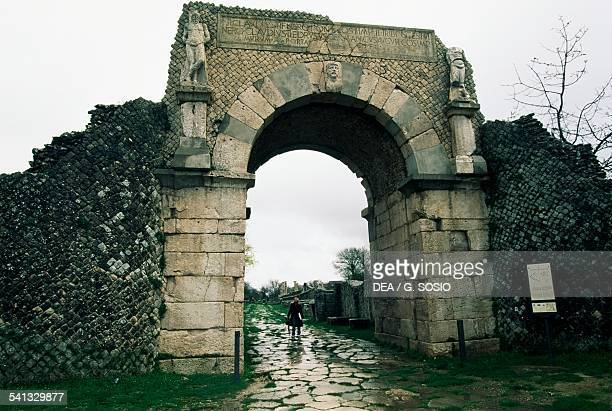 Boiano gate in the walls ancient Roman city of Saepinum Sepino Molise Italy