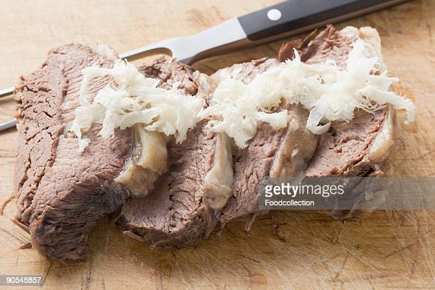 Boiled beef with horseradish, close up