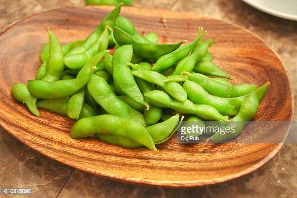Boiled Edamame in wood plate