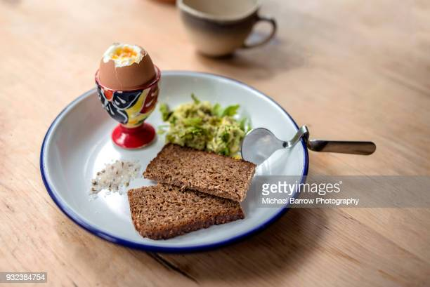 boiled egg breakfast - rye stock photos and pictures