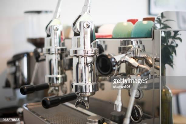 boiled hot espresso coffee with  Italian  coffee maker pot at Coffee corner