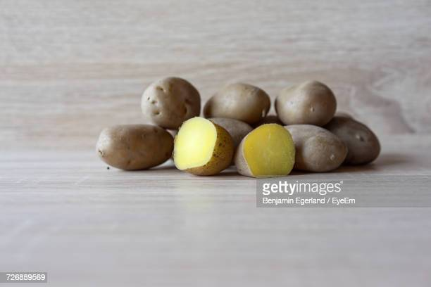 Boiled Potatoes On Wooden Table