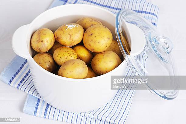 boiled potatos in a pot - prepared potato stock pictures, royalty-free photos & images