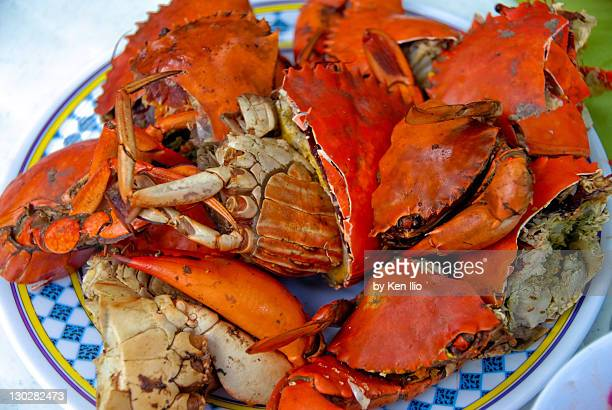 boiled red crabs - ken ilio stock pictures, royalty-free photos & images