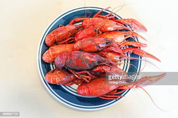 Boiled red swamp crawfish