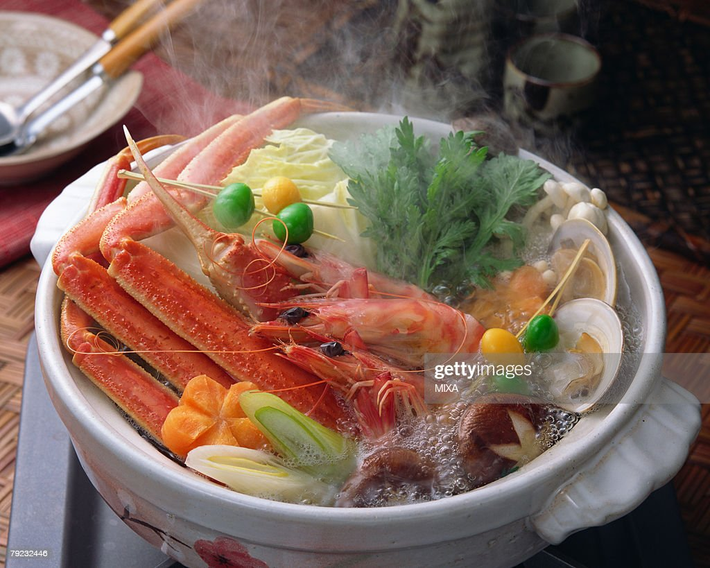 Boiled seafood in pot : Stock Photo