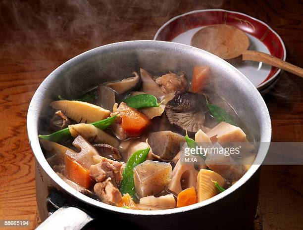 boiled vegetable and chicken - konjac stock pictures, royalty-free photos & images
