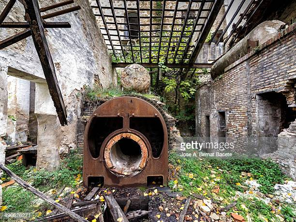 Boiler to heat water in the ruins of a factory