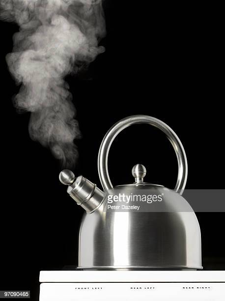 Boiling kettle with copy space on hob