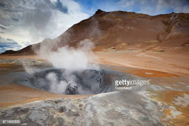 boiling mud in hveravellir - iceland - volcanic terrain stock photos and pictures