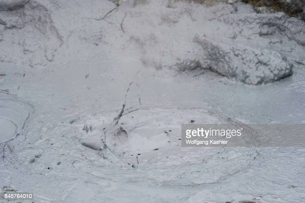 Boiling mud pots in the hot spring area named Hverir east of Mt Namafjall near Lake Myvatn in Northeast Iceland