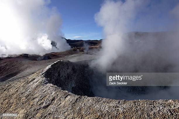 Boiling mud steams in a region travelers pass on their way to the Salar de Uyuni January 25, 2005 in Bolivia. Bolivia's Salar de Uyuni, the world's...