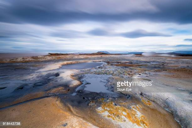 Boiling mudpools at Hverir volcanic area, Námafjall in northern Iceland.