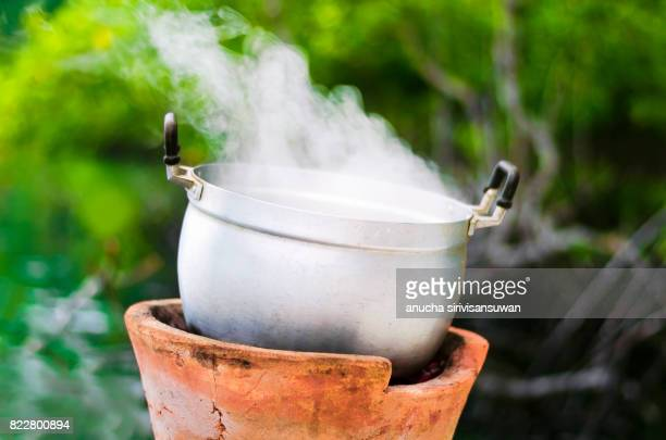 boiling pot stove hot have smoke Green tree background .