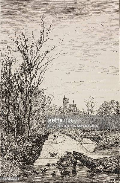 Bois de Vincennes engraving by Blampain based on a drawing by Daubigny from ParisGuide by leading writers and artists of France Volume 2 Life 1867