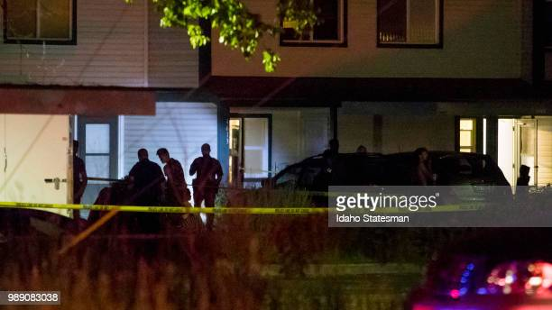Boise police investigate at a crime scene near the corner of State and Wyle streets in Boise Idaho just before 11 pm on Saturday June 30 2018 During...