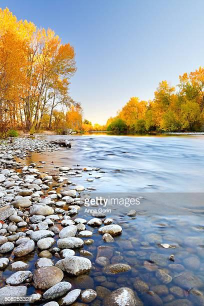 Boise River in autumn, long exposure, Idaho
