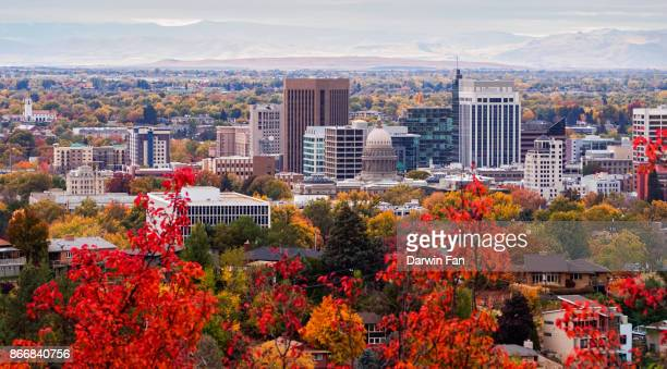 boise skyline fall panorama - idaho stock pictures, royalty-free photos & images