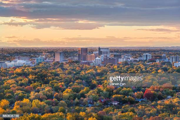 boise skyline fall - idaho stock pictures, royalty-free photos & images