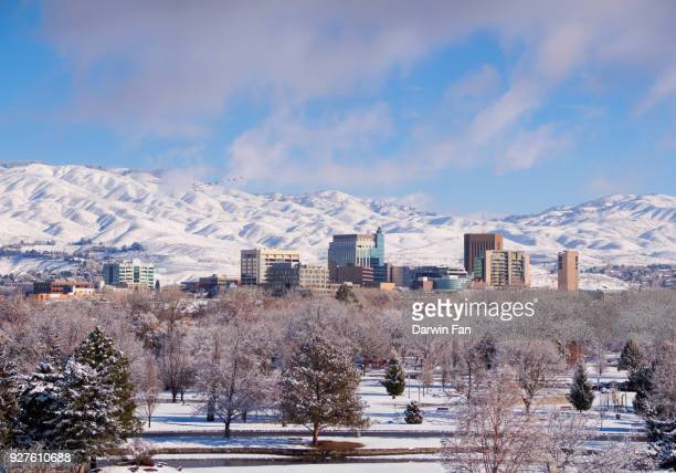 boise skyline winter panorama - boise idaho stock pictures, royalty-free photos & images