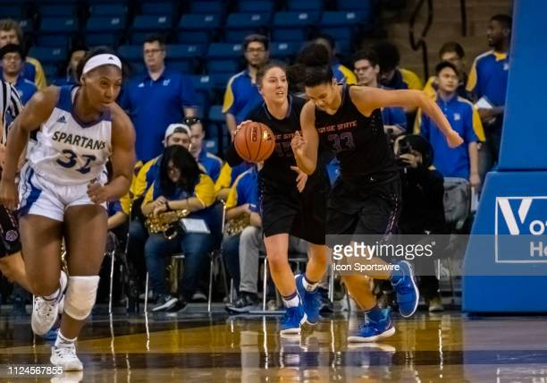Boise State Broncos forward Tess Amundsen breaks up court during the game between the San Jose State Spartans and the Boise State Broncos on Saturday...