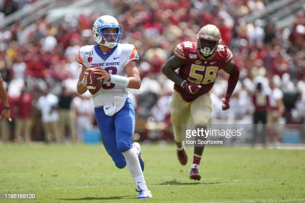 Boise State Broncos quarterback Hank Bachmeier scrambles during the game between the Boise State Broncos and the Florida State Seminoles on August 31...