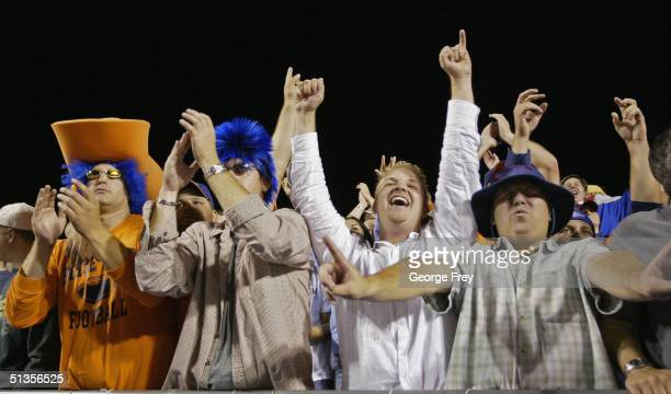 Boise State fans celebrate after BYU missed a game winning field goal September 24 2004 at Broncos Stadium in Boise Idaho BSU won the game over BYU...