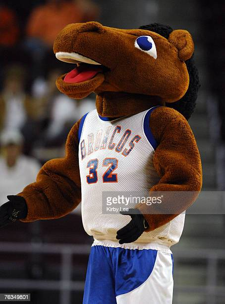 Boise State mascot Buster Bronco at NCAA Women's Basketball Tournament firstround playoff game against George Washington at the Galen Center in Los...