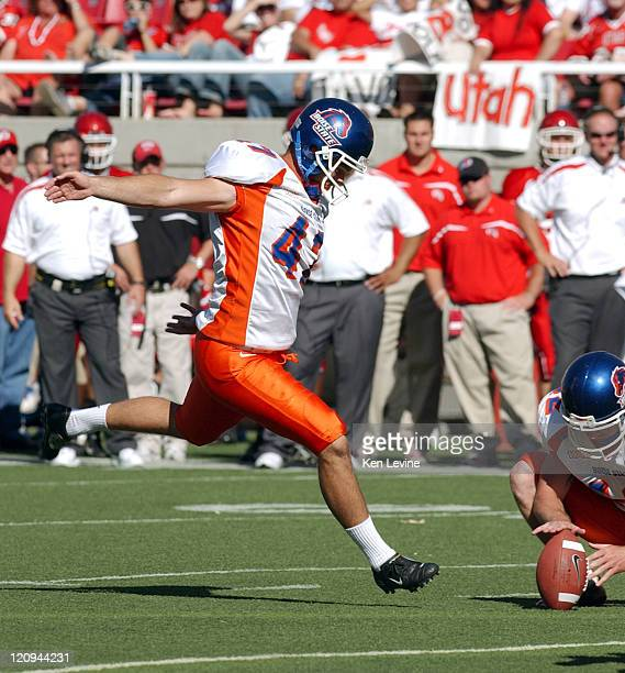 Boise State place kicker Anthony Montgomery kicks a 22 yard field goal against Utah in the fourth quarter at Rice Eccles Stadium in Salt Lake City,...