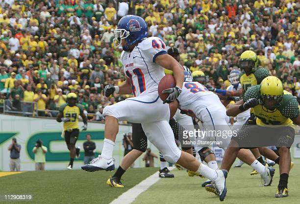 Boise State running back Ian Johnson runs in for a firsthalf touchdown against the University of Oregon at Autzen Stadium in Eugene Oregon on...