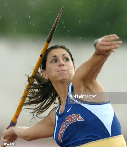 Boise State sophomore Neely Falgout competes in the women's javelin preliminaries in the NCAA Track Field Championships at the University of Texas'...