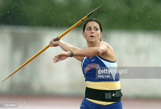 Boise State sophomore Neely Falgout competes in the women's javelin preliminaries in the NCAA Track & Field Championships at the University of Texas'...