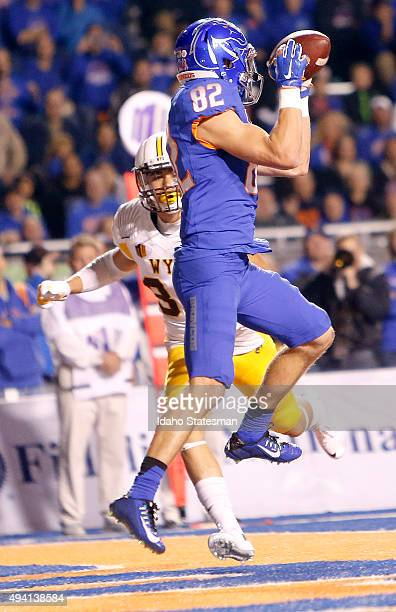 Boise State wide receiver Thomas Sperbeck makes a firsthalf touchdown catch against Wyoming at Albertsons Stadium in Boise Idaho on Saturday Oct 24...